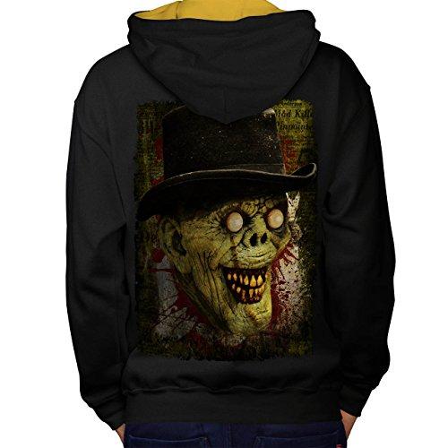 Gentleman Tot Mann Zombie Monster Hut Men M Kontrast Kapuzenpullover Zurück | (Toten Der Gentleman Tag Maske)