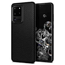 Spigen Liquid Air Compatible with Galaxy S20 Ultra (6.9 inch) Geometric Pattern Ergonomic Grip Slim Flexible TPU Phone Cover for Samsung Galaxy S20 Ultra - Matte Black