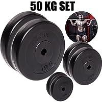 C.P. Sports - Juego de pesas para mancuernas de 50kg, placas de pesas diferentes, 30mm, 2 x 15kg + 2x 10kg