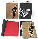 """Kit 4 quaderni 15x21 Galline in cuoio riciclato Collezione""""Chicken"""""""