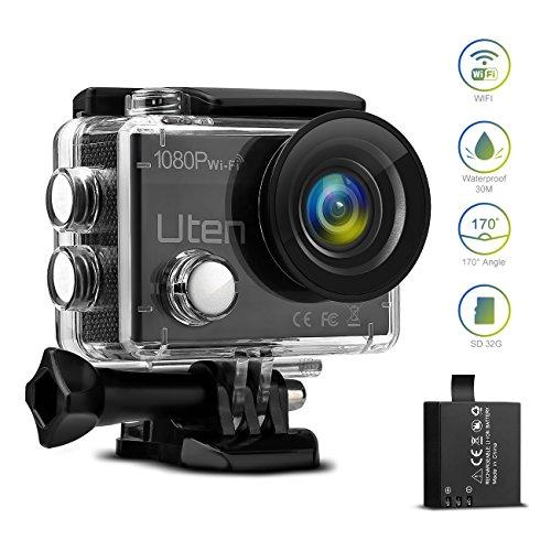 Action Sport Kamera, Uten WiFi Helmkamera 1080P FHD 12MP Cam 170 Ultra-Weitwinkel Unterwasserkamera wasserdicht mit Montage Zubehör Kit für Radfahren Schwimmen Klettern Tauchen
