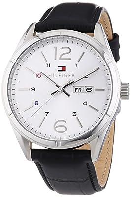 Tommy Hilfiger Watches CHARLIE - Reloj Analógico de Cuarzo para Hombre, correa de Cuero color Negro