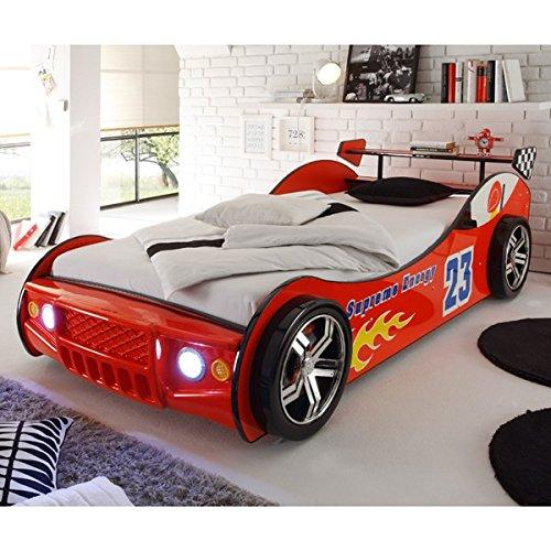 Autobett inkl Beleuchtung rot 90*200 cm Kinderbett Autorennbett Rennautobett Jugendbett Jugendliege Bettliege Bett Einzelbett Kinderzimmer