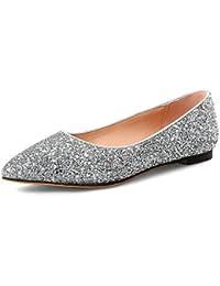 Aisun Damen Modisch Karo Lack Metallic Spitz Slipper Ballerinas Silber 38 EU kf46Xl6i