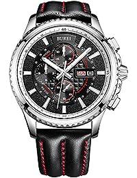 Reloj Cronógrafo BUREI para hombre con fecha analógica, cristal de zafiro y correa de piel.
