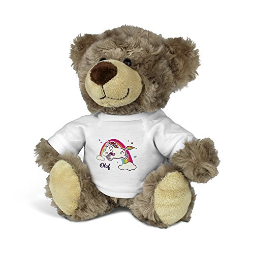 är mit Namen Olaf - Kuscheltier Teddy mit Design Verrücktes Einhorn ()