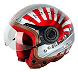 Nitro x516-v VISO APERTO motociclette motocicli scooter modello TOUR CASCO ANTIURTO J&S - Bianco/Rosso/Nera, M