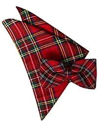 Burns Night Scottish Red Tartan Bow Tie & Hanky