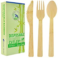 Disposable Wooden Bamboo Cutlery, Premium by SERVE GREEN (10 Sets) Reusable Biodegradable Utensils, Large Strong Spoons, Forks, Knives for Travel, Camping and BBQ   Alternative to Plastic Silverware