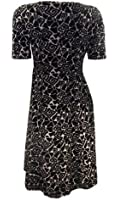 Marks & Spencer Black/Nude Graphic Print Fit and Flare Dress with Short Sleeves & Scoop Neckline