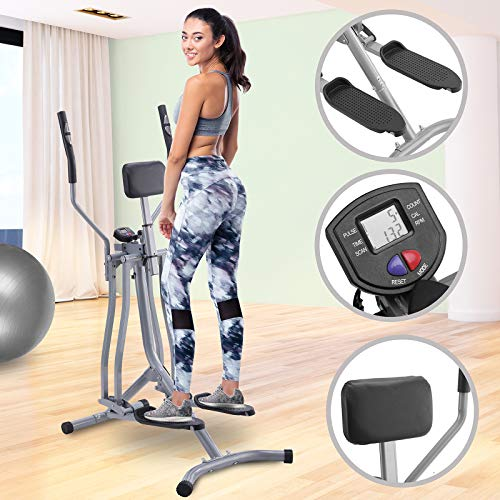 Physionics� Cross-Trainer with LCD Display | max. 330 lb, Heart Rate Sensor and Abdominal Support, made of Steel | Air Walker, Elliptical Trainer, Nordic, Cardio, Weightloss, Workout Machine