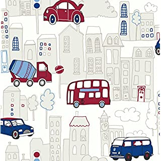 Arthouse 533501 Motor Mania Wallpaper, Blue, 53 cm x 10.05 m