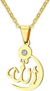 Vnox L'Oro della Collana di Cristallo Musulmano Islam Dio Allah Pendente delle Donne degli Uomini,la Catena Libera