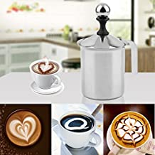 PREUP Gran Capacidad de 400cc Acero Inoxidable Doble Malla Foamer DIY Fancy Coffee Cream Leche Frother