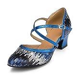 URVIP Neuheiten Frauen's Pailletten Heels Absatzschuhe Moderne Latein-Schuhe mit Knöchelriemen Tanzschuhe LD026 Blau 40 CN