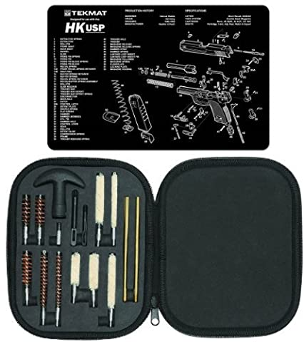 Ultimate Arms Gear Gunsmith & Armorer's Cleaning Work Bench Gun Mat Heckler & Koch H&K HK USP + Professional Tactical Cleaning Tube Chamber Barrel Care Supplies Kit Deluxe 17 pc Handgun Pistol Cleaning Kit in Compact Molded Field Carry Case for .22 / .357 / .38 / 9mm / .44 / .45 Caliber Brushes, Swab, Slotted Tips and Patches by Ultimate Arms (Gun Cleaning Mat)