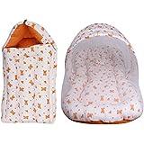 Litte Hug Baby Cotton Mattress With Mosquito Net Sleeping Bag Combo (Orange)