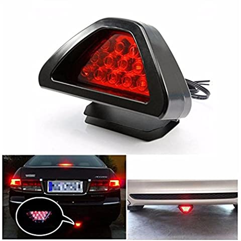 Tonsee Universal F1 Style 12 LED Red Rear Tail Third Brake Stop Safety Lamp Light Car