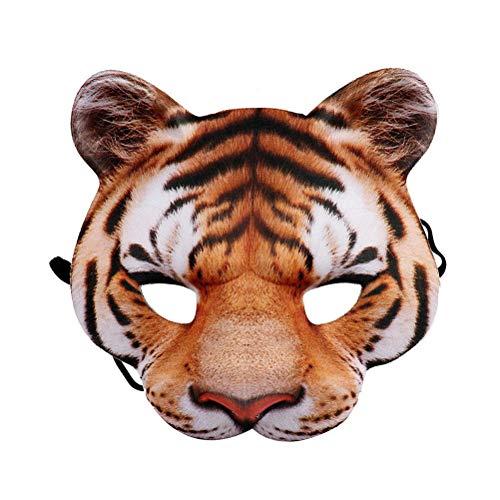 Amosfun Tiger-Tier-Maske für das ganze Gesicht, lustige Halloween-Requisite, Cosplay