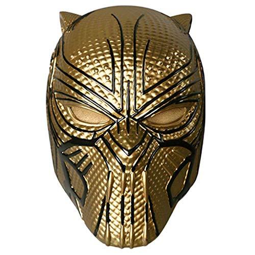 GanSouy Captain America: Bürgerkriegsmaske , Marvel Legends Series Schwarze Panther-Helmmaske - Perfekt für Karneval und Halloween - Kostüm für Erwachsene - PVC, Unisex,Gold-(53cm~62cm) (Captain Marvel Kostüm Schwarz)