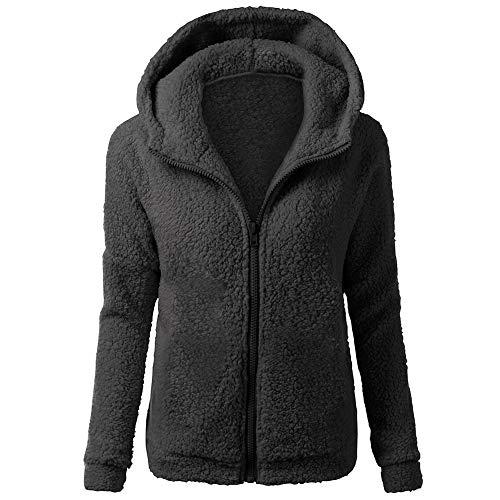 Auied Damen Kapuzenpullover Mantel Winter Warme Wolle Reißverschluss Outwear