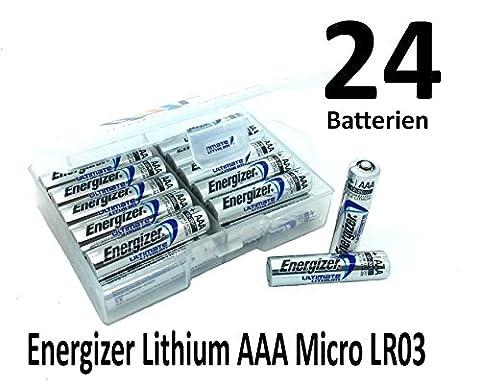 Piles Lithium Aaa - nemt Plat Boîte avec 24x Energizer Lithium