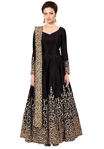 Ethnic Yard Women's Taffeta Silk Salwar Suit (Ey1-F1075_Black_Free Size, Semi-Stitched )