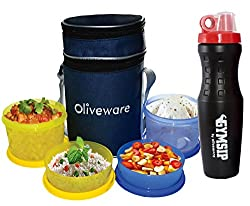 Oliveware LB36 4 Containers Lunch Box Combo Offer (Combo5)