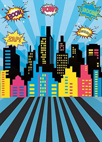 AIIKES 5x7FT/1,5Mx2,1M Baby Geburtstags Fotografie Hintergrund Comics Superheld Party Stadt Gebäude Poster Foto Hintergrund Photocall Foto Studio 11-401