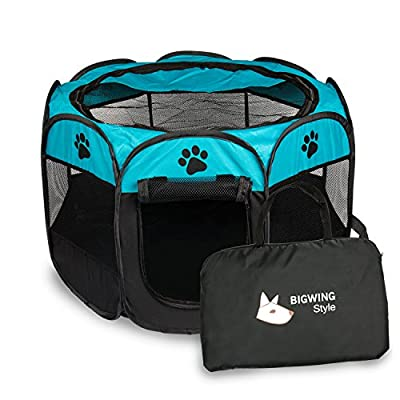 BIGWING Style Pet Play Pen Portable Foldable Puppy Dog Pet Cat Rabbit Guinea Pig Fabric Playpen Crate Cage Kennel Tent