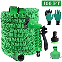 PECHTY Manguera de Jardín Extensible, 100FT 30M Mangueras de Jardín Flexible Manguera con 8 Funciones Jardín de Rociado para Lavado de Autos, Jardinería, Riego (Verde)