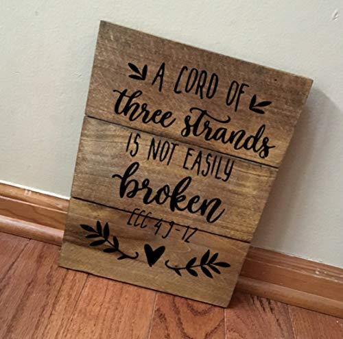 Handgefertigt Gebeizt (CPWood Rustikale handgefertigte Wanddekoration aus recyceltem Echtholz gebeizt mit 3 Strängen ist Nicht leicht zerbrochen Bibelvers Hochzeit)