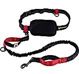 Guinzaglio mani libere per cani da jogging | Rosso e nero elastico e riflettente di 120 - 180 cm | Per corerre, canicross, passeggiate ed escursioni
