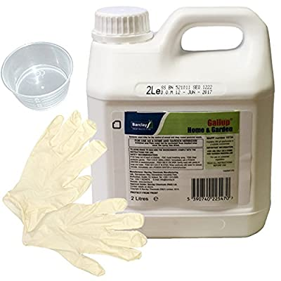 Gallup Home & Garden Glyphosate Commercial Strength Weed killer treats upto 3332 sq/m 2Lt Bottle + Measuring Cup and Gloves by Elixir Gardens ® Prime