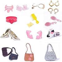 TR. OD collar pendientes lazo corona diadema zapatos bolsa de hombro Kit de accesorios de ropa para Barbie Girls vestido para muñeca niño regalo al azar patrón