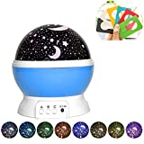 Woolala Star Projection Light Romantic Colorful Rotating Starry Sky Night Light 2 Charge Modes Multiple Light Modes for Kids, Girlfriend, Bedroom, Party Decor, Gift, Blue