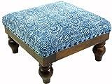 Guru-Shop Arabisch- Marokkanischer Kelim Boden Hocker, Orientalischer Sitz mit Holzgestell, Runde Beine - Blau/retro, 25x40x40 cm, Sitzmöbel