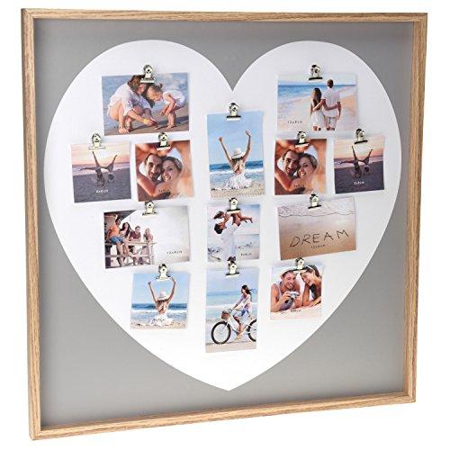 Fotogalerie Bilderrahmen Herz Bildergalerie mit XXL Holz Rahmen Fotocollage Love Liebe groß für mehrere Bilder