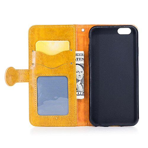 "MOONCASE iPhone 6/iPhone 6s Coque, [Style Rétro] Durable PU Cuir Flip Housse TPU Souple Anti-dérapante Shock Absorption Protection Etui Case pour iPhone 6/iPhone 6s 4.7"" Or Or"