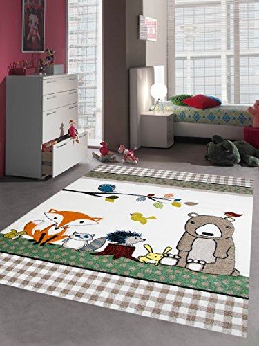 Kinderteppich Spielteppich Kinderzimmer Teppich niedliche bunte Tiere mit Bär Fuchs Hase Igel Eule Vögel Creme Beige Braun Türkis Orange Gelb Grün Rot Größe 160x230 cm