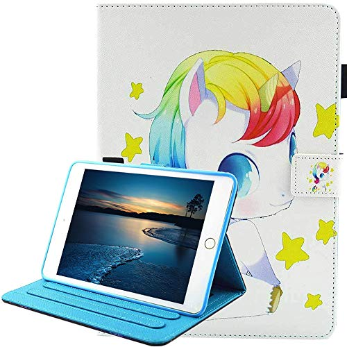 Nuovo iPad 9.7 2018 2017 / iPad Air 2 / iPad Air Custodia[Penna di Tocco Libera], Cartone Animato Pelle Portafoglio Protettiva Cover per Apple iPad 9.7 2018 2017/Air 2/Air (Bambino Unicorno)