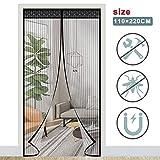 ACTOPP Zanzariera Magnetica 110 x 220cm con 28 Pezzi Magneti e Velcro Resistente Traspirante per Porta Finestra