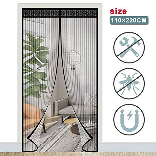 ACTOPP Magnet Fliegengitter Tür Insektenschutz Fliegenvorhang 110 x 220 mit 28 Stück Magneten Moskitonetz Tür Magnetvorhang für Wohnzimmer Balkontür Terrassentür Kinderleichte Klebemontage