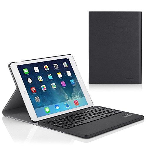 für iPad Air 2 - Wireless Drahtlose Bluetooth Tastatur Keyboard QWERTY Ledertasche Leder Tasche Schutzhülle Case für Apple iPad Air 2/iPad 6 9.7 Inch iOS 8 Tablet, Schwarz (Apple Keyboard Case Ipad 6)