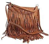GFM® Kunstleder-Tasche mit weichen Fransen auf beiden Seiten, Schultertasche Gr. M, Style 3 - Tan (KEK00)