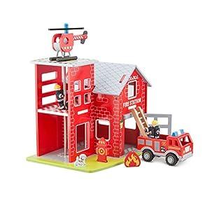 New Classic Toys Estación de Bomberos con camión de Bomberos, helicóptero, Bombero, Perro del Rescate, Boca de Incendios y visualización / Material: Madera / Dimensiones: Aprox 41 x 31 x 35 cm