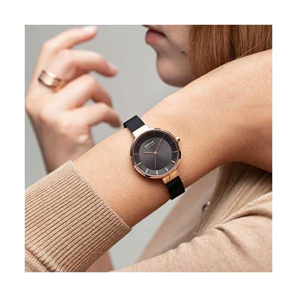 BERING Reloj Analógico para Mujer de Energía Solar con Correa en Acero