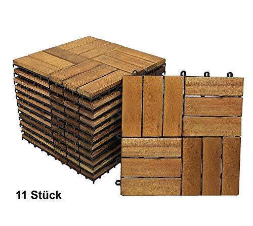 XXS Terrassenfliese 02 | Holz-Fliese aus Akazie | geölt | 11 Fliesen für 1 m² | Garten-Fliese 30 x 30 cm | FSC 100% zertifiziert | mit Drainage | Klick-Fliesen für Balkon & Garten