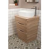 Badezimmer 650mm Waschtisch Unterschrank Eiche Hell & Aufsatz Waschbecken Oval