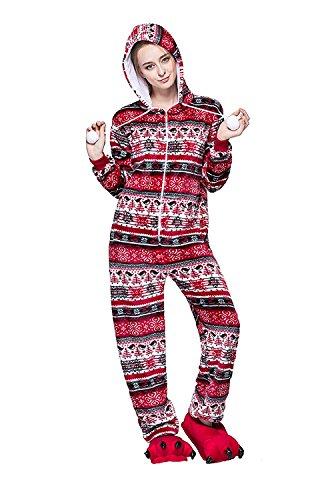 URVIP Neu Unisex Festliche Anzug Flanell Pyjamas Trickfilm Jumpsuit Tier Cartoon Fasching Halloween Kostüm Sleepsuit Party Cosplay Pyjama Schlafanzug Rot Vogel X-Large